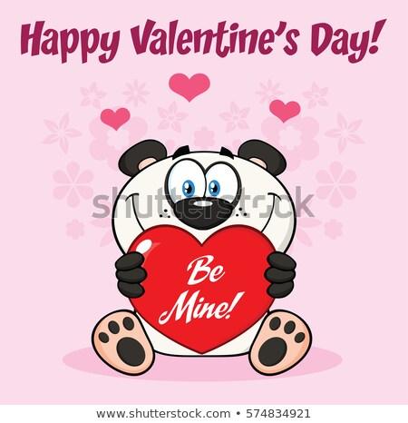 Panda Bear Cartoon Mascot Character Holding A Heart With Text Be Mine  Stock photo © hittoon