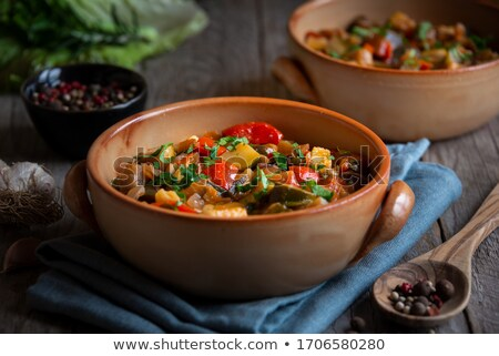 vegetable stew with zucchini, eggplant, tomato and bell pepper Stock photo © M-studio