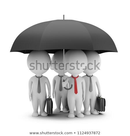 Foto stock: 3D · pequeno · pessoas · gerente · guarda-chuva · equipe