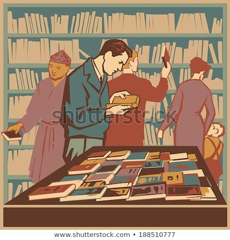 Menina prateleira de livros biblioteca ilustração feminino estudante Foto stock © lenm