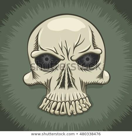 ハロウィン パーティ ポスター 悪 頭蓋骨 歯 ストックフォト © tuulijumala