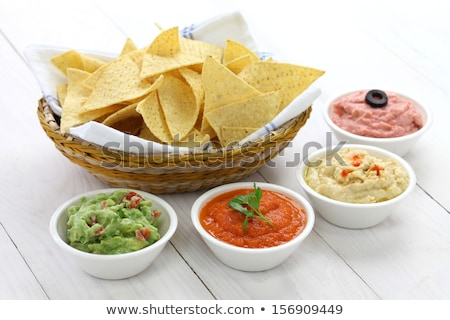 Nachos served with dip sauces  Stock photo © dash
