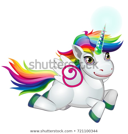 Cute unicorn pony with mane colors of the rainbow happily galloping isolated on white background. As Stock photo © Lady-Luck