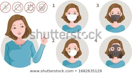 Stock photo: flat type surgical wear women_icon