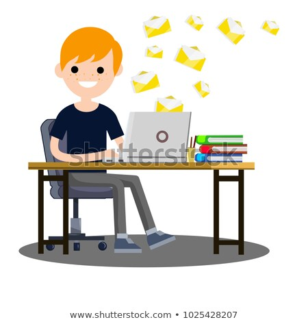 Business Correspondence, Envelopes Flying At The Table Of Manager Vector. Isolated Illustration Stock photo © pikepicture