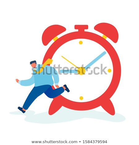 Running Businessman With Huge Clock, Time Management, Deadline Vector. Isolated Illustration Stock photo © pikepicture