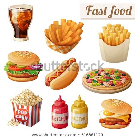 Sosisli sandviç hamburger ayarlamak fast-food posterler patates kızartması Stok fotoğraf © robuart