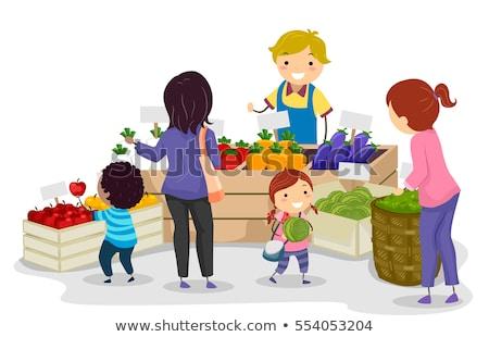 Stickman Kids Fruits Vegetables Illustration Stock photo © lenm