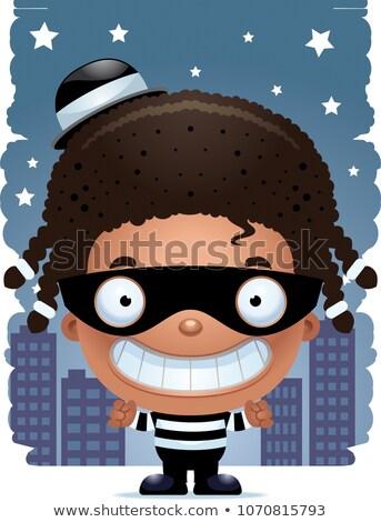 glimlachend · cartoon · inbreker · illustratie · mannen · persoon - stockfoto © cthoman