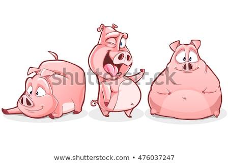 Cartoon свинья дайвинг иллюстрация погружение плавать Сток-фото © cthoman