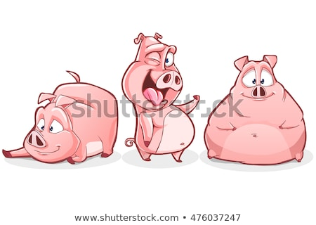 Cartoon porc plongée illustration plongée nager Photo stock © cthoman