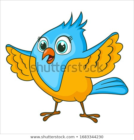 blue bird little flies isolated birdie cartoon style stock photo © maryvalery