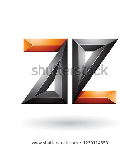 Orange and Black 3d Geometrical Embossed Letter E Vector Illustr Stock photo © cidepix