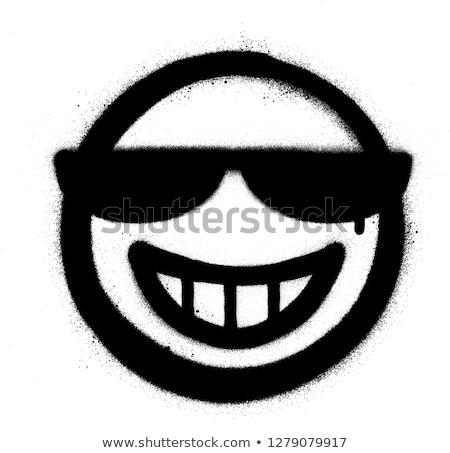 граффити ухмыляться икона Солнцезащитные очки черно белые падение Сток-фото © Melvin07