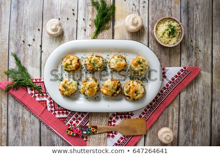 baked mushrooms stuffed with mozzarella stock photo © alex9500