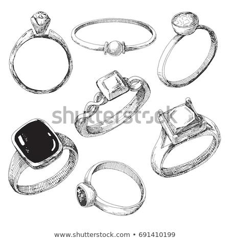 diamantes · dibujado · a · mano · garabato · icono · joyas - foto stock © rastudio
