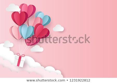Kırmızı origami kalpler sevgililer günü tebrik dizayn Stok fotoğraf © SArts