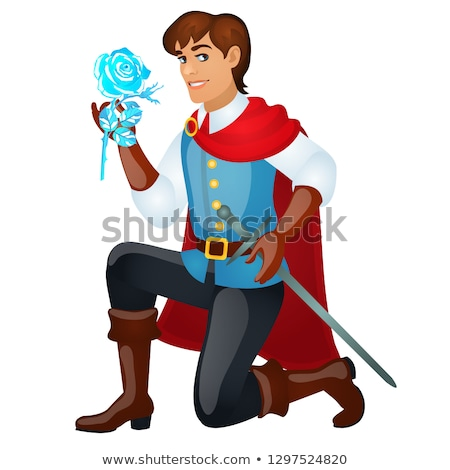 Young handsome prince with a sword holding an ice rose isolated on white background. Vector cartoon  Stock photo © Lady-Luck