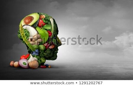 Vegan vegetáriánus pszichológia csoport gyümölcs diók Stock fotó © Lightsource
