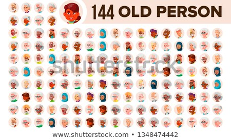 asian old woman avatar set vector face emotions senior person portrait elderly people aged user stock photo © pikepicture