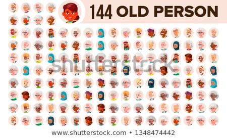 Asian staruszka avatar zestaw wektora twarz Zdjęcia stock © pikepicture