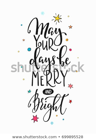 merry and bright winter holidays text poster stock photo © robuart