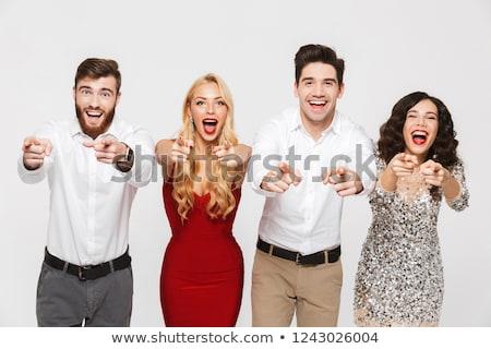 Megrémült izgatott fiatal csoport barátok áll Stock fotó © deandrobot