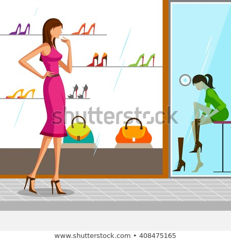 Woman Choosing Boots in Store, Ladies Shop Vector Stock photo © robuart