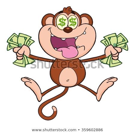 Zengin maymun atlama nakit para Stok fotoğraf © hittoon