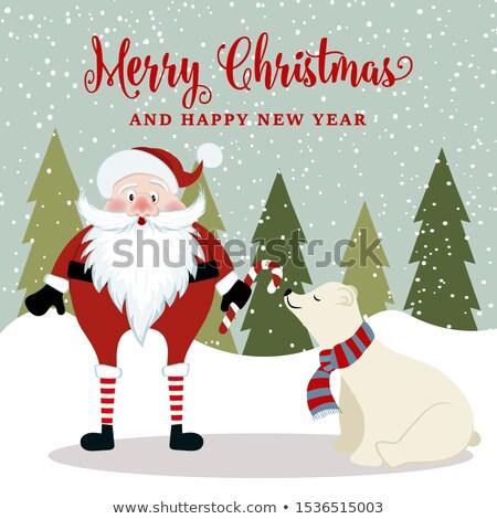 великолепный снеговик полярный медведь Рождества плакат Сток-фото © balasoiu