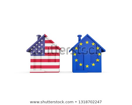 Two houses with flags of United States and EU Stock photo © MikhailMishchenko