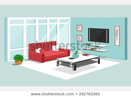 Vetor isométrica sala de estar varanda sofá mesa de café Foto stock © tele52