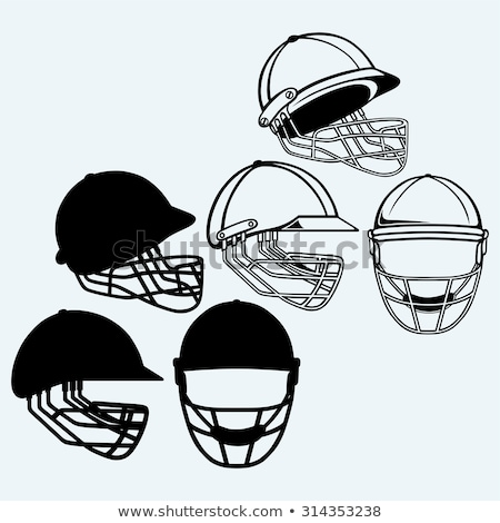 Cricket helm icon masker kleur stencil Stockfoto © angelp