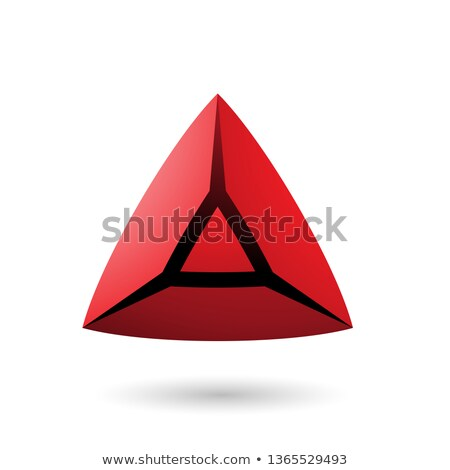 Stock photo: Red and Bold 3d Pyramid Vector Illustration