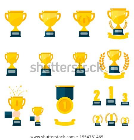 Realização troféu campeão primeiro lugar ícone campeonato Foto stock © kyryloff