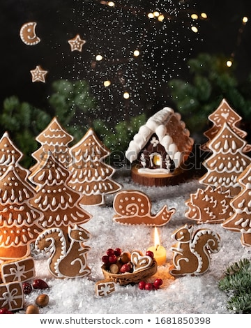 Gingerbread Cookie Form of House Christmas Holiday Foto d'archivio © robuart
