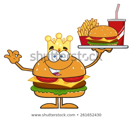 king hamburger cartoon character holding a platter with burger french fries and a soda stock photo © hittoon