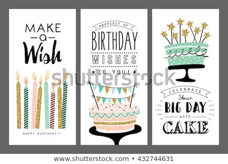 Mutlu yıllar parti tebrik kartı kek mumlar mutlu Stok fotoğraf © Imaagio