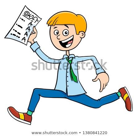 boy with school certificate or grade report Stock photo © izakowski