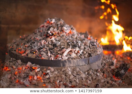 Traditional croatian dish peka in iron bell under glow Stock photo © xbrchx