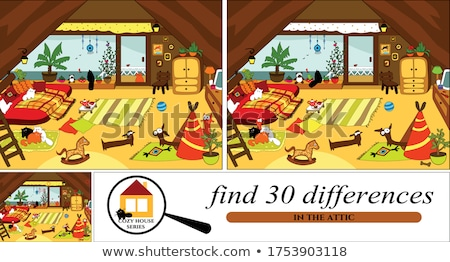 Bevinding verschillen spel gelukkig kinderen cartoon Stockfoto © izakowski