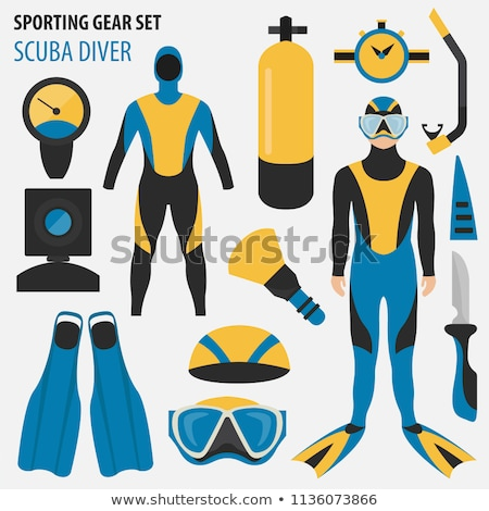 man snorkeling in diving mask isolated vector male stock photo © robuart