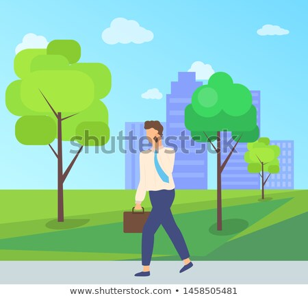 worker character going on road in park vector stock photo © robuart