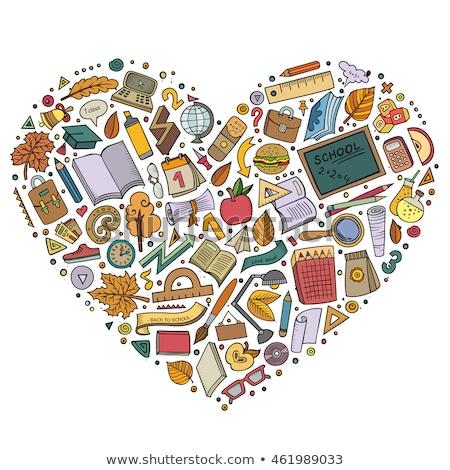 Színes kézzel rajzolt szett iskola rajz firka Stock fotó © balabolka