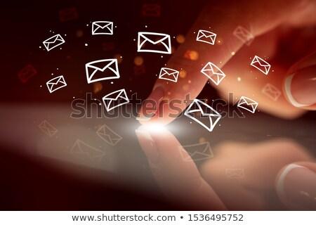 Vinger aanraken tablet hologram app iconen Stockfoto © ra2studio