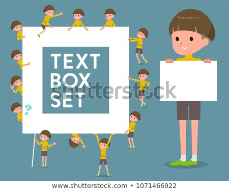 flat type Yellow clothes Bob hair boy_text box Stock photo © toyotoyo