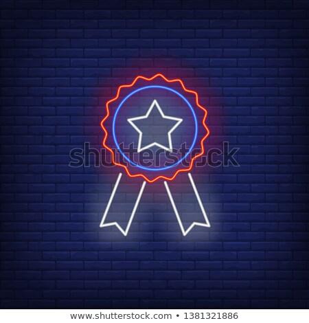 Gunning medaille neonreclame sport promotie fitness Stockfoto © Anna_leni
