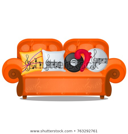 Sofa with pillows on musical theme isolated on white background. Sketch of poster, party invitation, stock photo © Lady-Luck