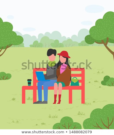 Couple Sitting on Bench with Laptop, Suburbs Park Stock photo © robuart
