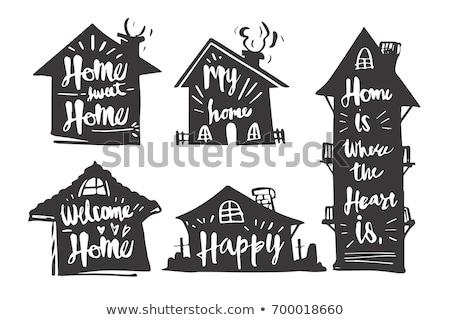 Retro ev siluet logo motel imzalamak Stok fotoğraf © barsrsind